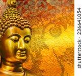 buddha gold statue on golden... | Shutterstock . vector #236641054