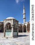 Small photo of ISTANBUL, TURKEY - AUGUST 21: Ablution fountain and minaret of the Blue Mosque on August 21, 2014 in Istanbul, Turkey. Blue Mosque was built from 1609 to 1616 by architect Sedefkar Mehmed Aga.