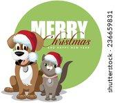 cute cartoon dog and cat merry... | Shutterstock .eps vector #236659831