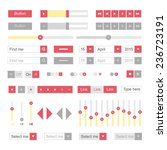 red material design ui elements ...
