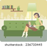 young beautiful woman using a... | Shutterstock .eps vector #236733445