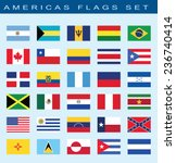 set of americas flags  vector... | Shutterstock .eps vector #236740414