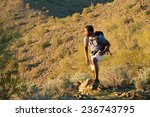 Young Man Hiking Outdoors On A...