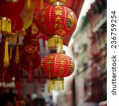 Red Chinese Lamp In Chinatown...