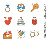 abstract icons of wedding...