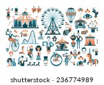 Circus. Colored Icons On White...