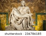 Small photo of ROME-SEP 29: Michelangelo's Pieta in St. Peter's Cathedral on SEP 29, 2010. More than four million pilgrims and tourists visit the Vatican each year.