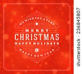 christmas retro typographic and ... | Shutterstock .eps vector #236845807