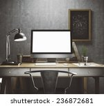 stylish workspace with computer ... | Shutterstock . vector #236872681