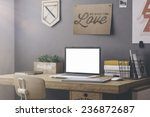 stylish workspace with computer ... | Shutterstock . vector #236872687