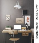 stylish workspace with computer ... | Shutterstock . vector #236872699