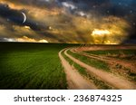 dirt road and rainbow in the... | Shutterstock . vector #236874325
