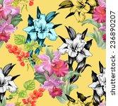 colorful iris flowers seamless... | Shutterstock . vector #236890207