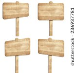 set of brown wooden signpost | Shutterstock . vector #236937781
