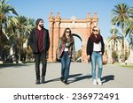 friends having fun walking the... | Shutterstock . vector #236972491