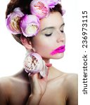 fashion make up  with flower... | Shutterstock . vector #236973115