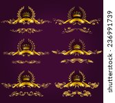 set of luxury gold borders ... | Shutterstock .eps vector #236991739