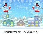 bullfinches and town in winter. ... | Shutterstock .eps vector #237000727