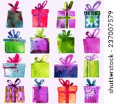 watercolor christmas set with... | Shutterstock .eps vector #237007579