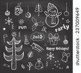 vintage christmas chalkboard.... | Shutterstock .eps vector #237009649