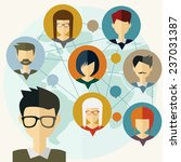 social media network connection ... | Shutterstock .eps vector #237031387