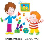 boys playing with bricks | Shutterstock . vector #23708797