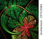 Green And Red Fractal Flower ...