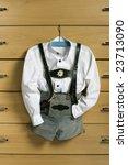 child shirt and lederhosen on... | Shutterstock . vector #23713090