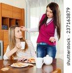two women having  squabble at... | Shutterstock . vector #237163879