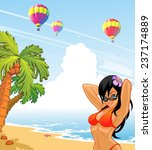 girl on the beach and balloons | Shutterstock .eps vector #237174889