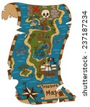 pirate map of treasure island... | Shutterstock .eps vector #237187234