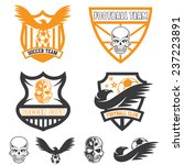football team crests set with...