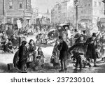 Hard frost on the streets of London, engraving from