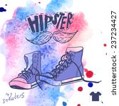 hand drawn pair of sneakers ... | Shutterstock .eps vector #237234427