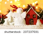 knitted christmas angel on... | Shutterstock . vector #237237031