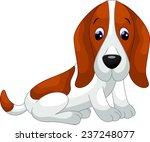 Cute Basset Hound Dog Cartoon