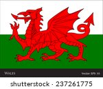 flag of wales   uk   red dragon ... | Shutterstock .eps vector #237261775