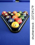 pool balls on blue table | Shutterstock . vector #23729179