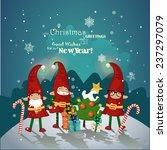 christmas elves in red caps...   Shutterstock . vector #237297079
