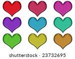 assorted metallic hearts in... | Shutterstock . vector #23732695