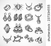 jewelry decorative icons set...