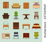 furniture icons set with desk... | Shutterstock .eps vector #237334969