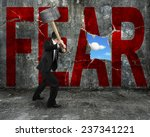 businessman holding hammer... | Shutterstock . vector #237341221