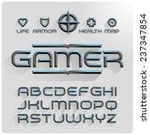 metallic volume beveled font... | Shutterstock .eps vector #237347854