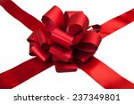 red ribbon with a bow on a white | Shutterstock . vector #237349801
