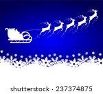 santa claus rides in a sleigh...   Shutterstock .eps vector #237374875