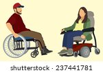 man ands woman in wheelchair | Shutterstock .eps vector #237441781