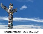 Isolated Totem Wood Pole In Th...