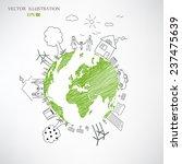 creative drawing world map...   Shutterstock .eps vector #237475639