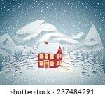cozy christmas house | Shutterstock .eps vector #237484291